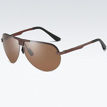 Polarizačné slnečné okuliare pilotky Wayne hnedé