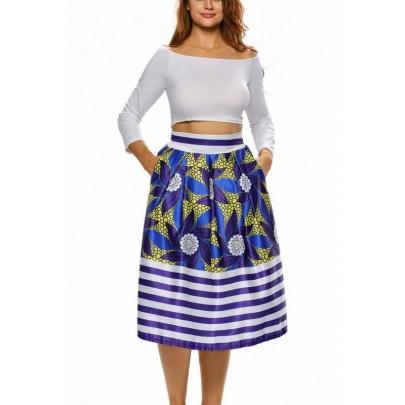 Dámska midi sukňa - modrá