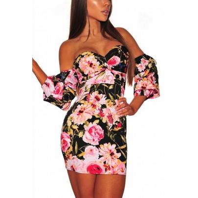 Šaty s kvetinovým motívom Ava - čierne