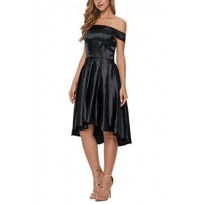 Čierne saténové dámske šaty Rebecca