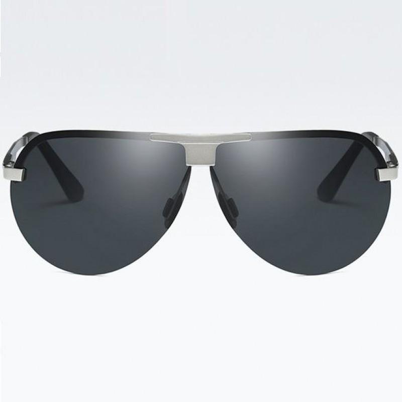 e3b6fe49e Polarizačné slnečné okuliare pilotky Wayne strieborné čierne ...