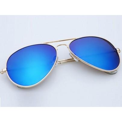 Slnečné okuliare AVIATOR - pilotky zlatý kovový rám modré sklá