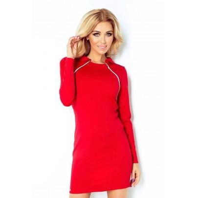 Módne šaty s dekoratívnymi zipsmi Letizia červené v130-2