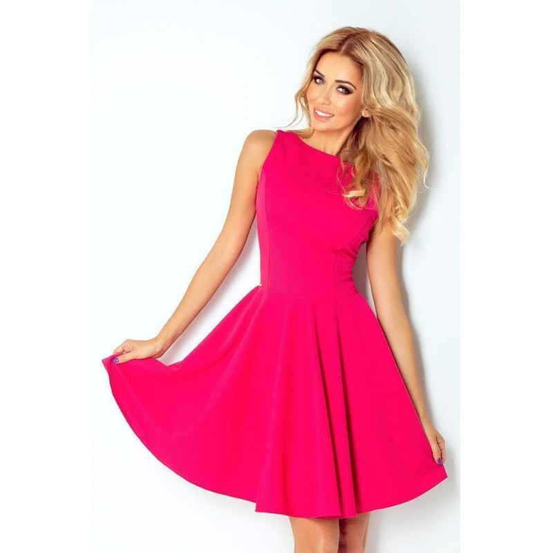 Jednofarebné dámske šaty Donya - ružové 125-3  c6c34b3728