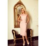 Elegantné midi šaty Edita ružové 144-6