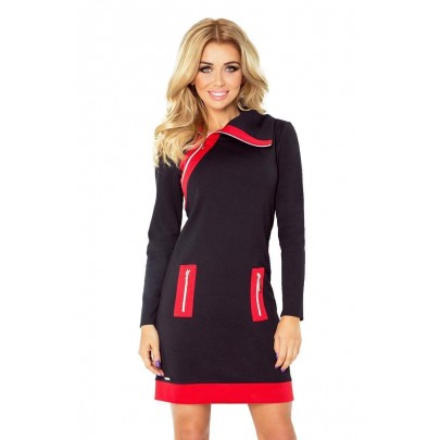 Kontrastné dámske šaty Juliette - čierne červené 129-4