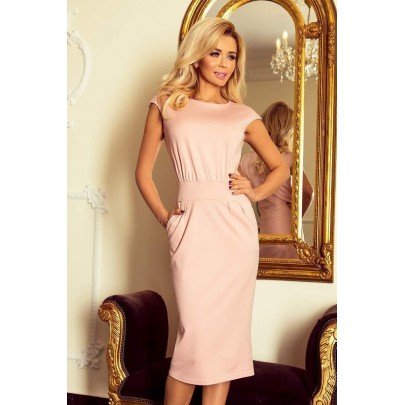 Elegantné midi šaty Edita - ružové v144-6