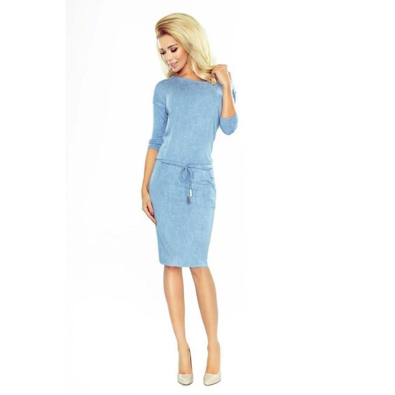 03a6545d80ca ... Svetlo modré dámske šaty v rifľovom štýle 13-80 ...