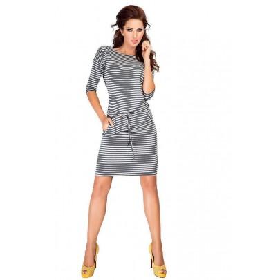 Šedé trendové šaty s pásikmi 13-11