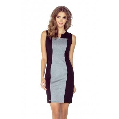 Dvojfarebné šaty Brenda - čierna + sivá vMM 006-3