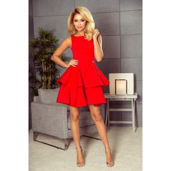 Šaty s vrstvenou sukňou Nicolina - červené 169-1