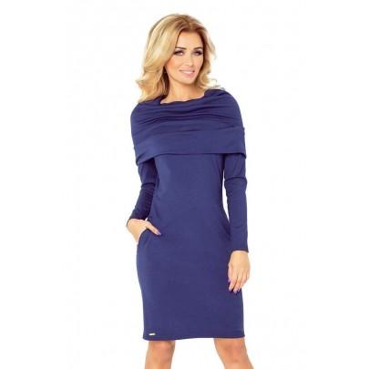 Dámske šaty s veľkým rolákom Marea - tmavo modré 131-5