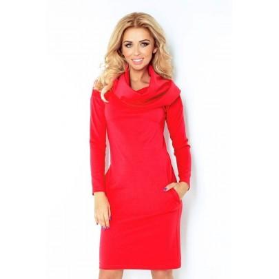 Dámske šaty s veľkým rolákom Marea - červené 131-4