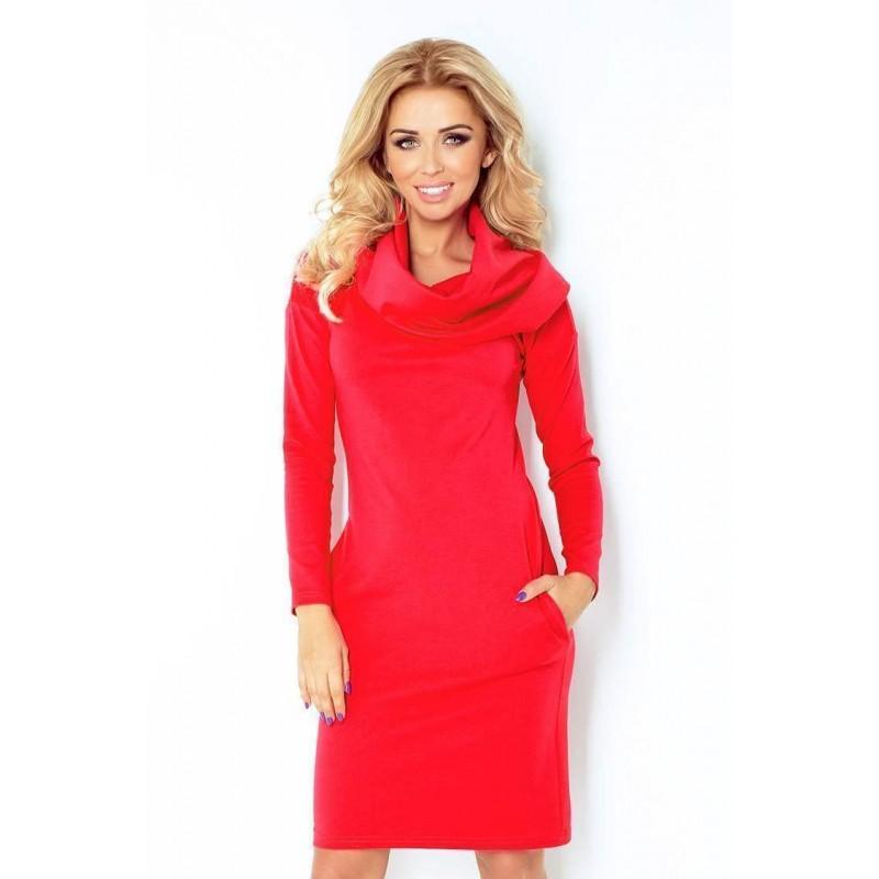 eb8e6968121a Dámske šaty s veľkým rolákom Marea - červené 131-4