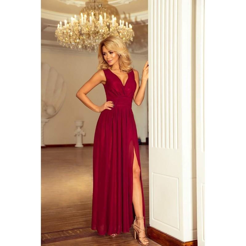 -15% Krásne spoločenské šaty Bona - burgundy v166-3 6e7a1022f98