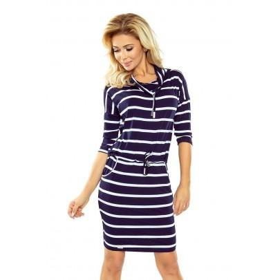 Moderné šaty s pásikmi Jade - tmavo modré 44-16