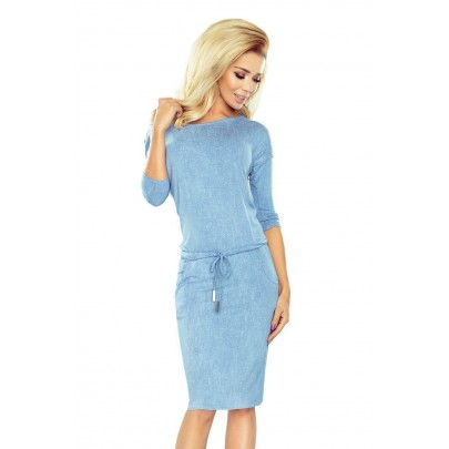 Svetlo modré dámske šaty v rifľovom štýle 13-80