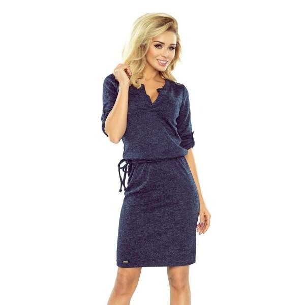 Dámske šaty s límcom Pietra - tmavo modré 161-8