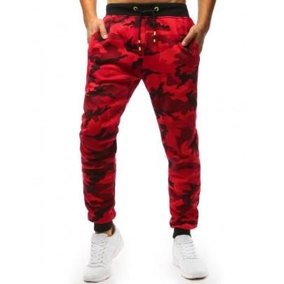 Červené maskáčové pánske teplákové joggery ux1467