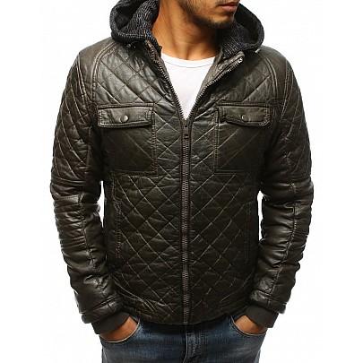 Pánska zimná kožená bunda - khaki vtx2431