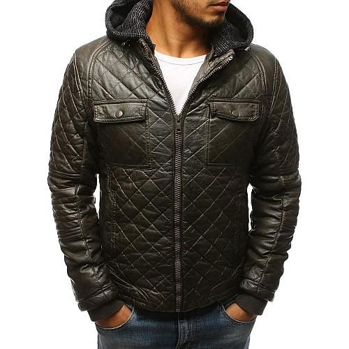 Pánská zimní kožená bunda - khaki tx2431