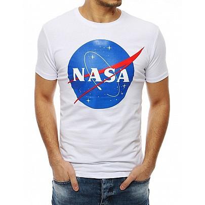 Jedinečné pánske biele tričko s nápisom NASA vrx4100