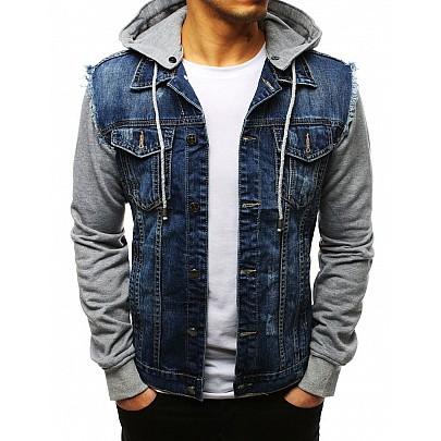 Štýlová modrá riflová bunda s kapucňou vtx2638