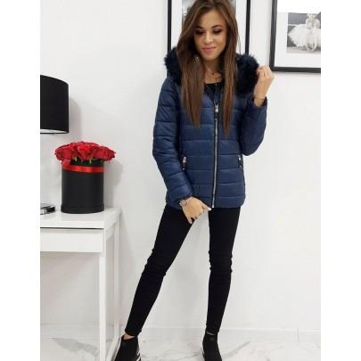 Dámska zimná modrá bunda s odnímateľnou kapucňou vty1004