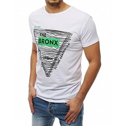 Pánske biele štýlové tričko s nápisom rx3992