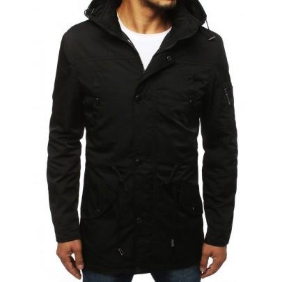 Prechodná čierna pánska bunda s kapucňou vtx2883