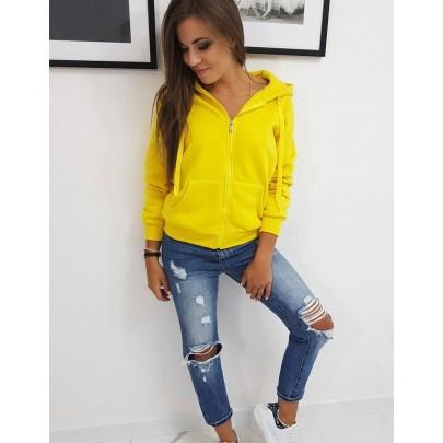 Pohodlná dámska mikina žltá s kapucňou by0234