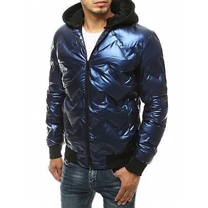 Zaujímavá pánska modrá bunda s kapucňou vtx3440