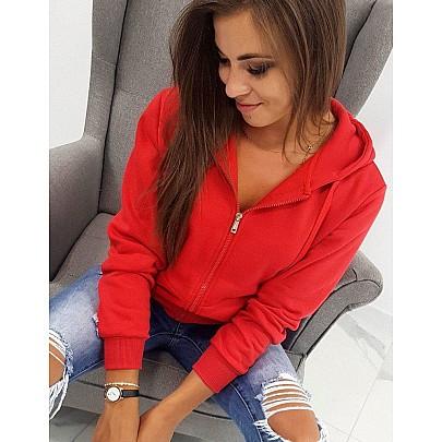 Pohodlná dámska mikina červená s kapucňou by0226