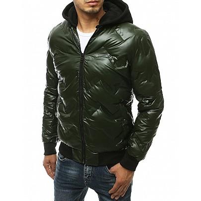 Zaujímavá pánska zelená bunda s kapucňou vtx3441
