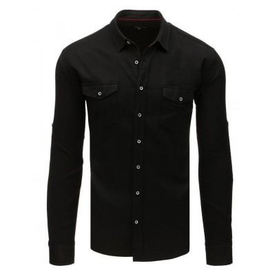 Elegantná čierna pánska košeľa dx1756