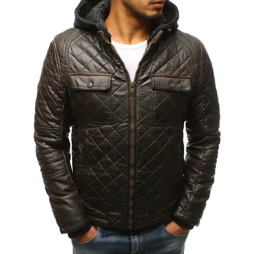 Pánská zimní kožená bunda - hnědá tx2432