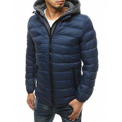 Modrý prechodný pánsky kabát s kapucňou tx3542