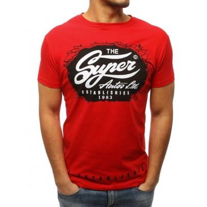 Trendové pánske tričko červené s nápisom rx3031