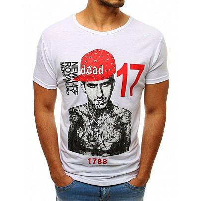 Biele jedinečné pánske tričko s potlačou vrx3513