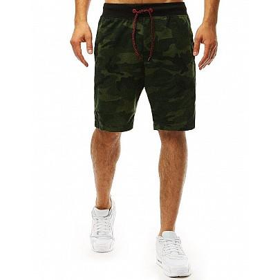 Pánske zelené pohodlné teplákové kraťasy s army vzorom vsx0987