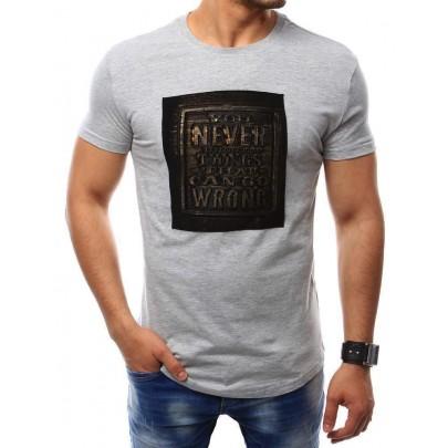 Zaujímavé sivé pánske tričko s nápisom vrx2409