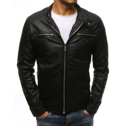 Pánska pohodlná čierna kožená bunda vtx1532