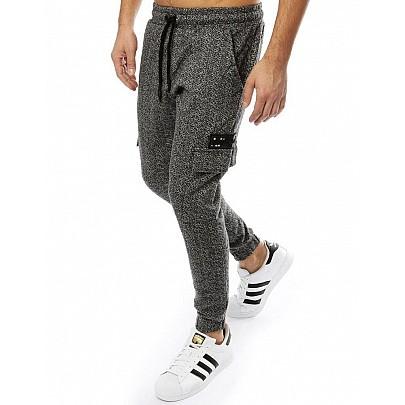 Pánske pohodlné čiernosivé joggery vux2187