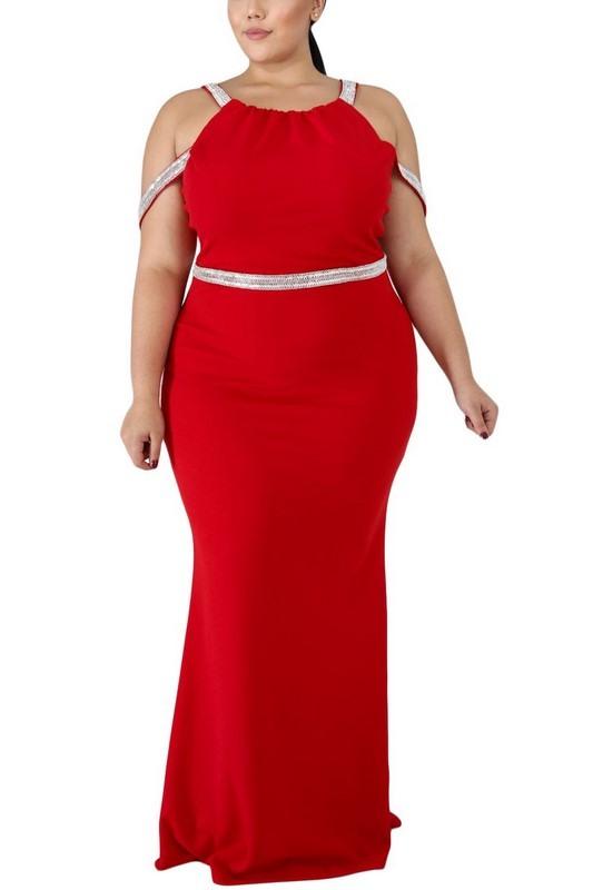 Dámske červené plus size spoločenské šaty Eleonora