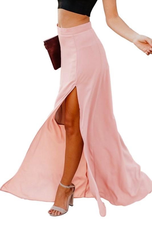 Dámska dlhá ružová sukňa