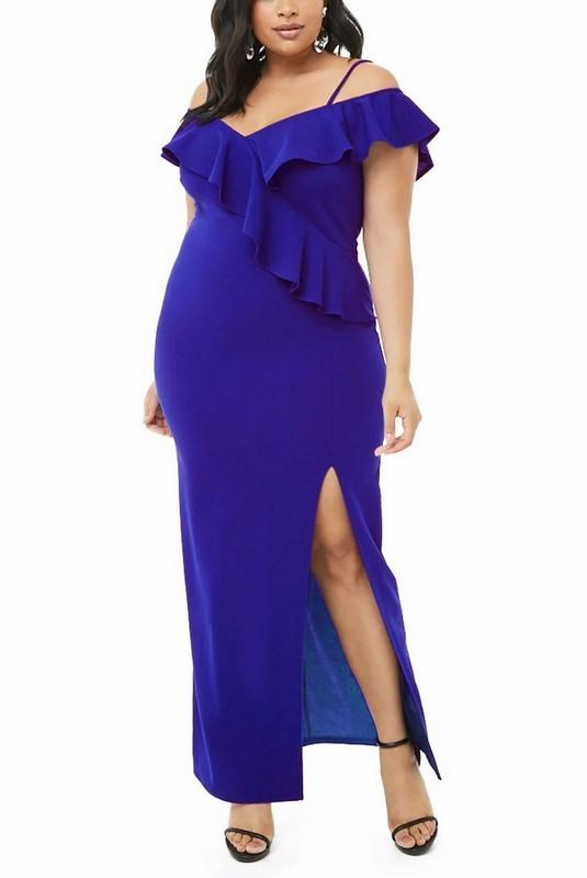 Dámske modré plus size spoločenské šaty Allegra