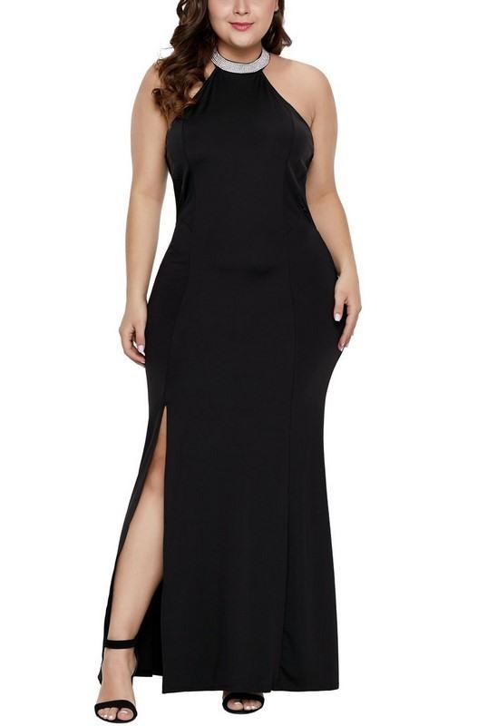 Spoločenské plus size šaty - čierne