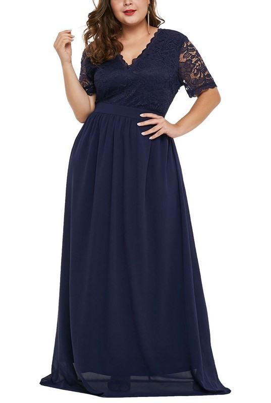 Dámske modré plus size spoločenské šaty Genevra