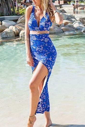 Modré čipkované šaty Alannah