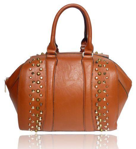 Módna vybíjaná kabelka hnedá